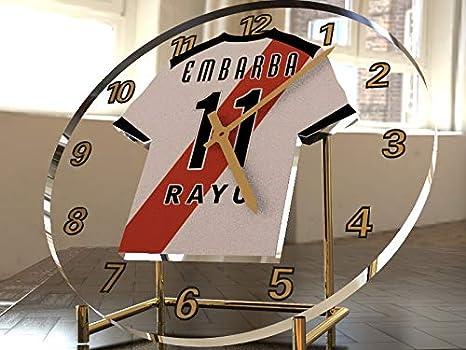 Reloj de sobremesa, diseño de camiseta de fútbol de La Liga española, color Rayo Vallecano: Amazon.es: Oficina y papelería