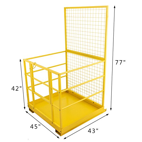 Mophorn Forklift Safety Cage 45 x 43 Inch Fork Lift Work Platform 1200lbs Capacity Heavy Duty Steel Forklift Safety Lift Basket Aerial Fence Rails Yellow Pallet loader Fork lift Safety Cage (45''x43'') by Mophorn (Image #1)