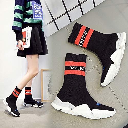 Estilo Zapatos Moda Negro Medias Nuevos De XINGMU Mujer Alto Elástica Estilo De C0gWn