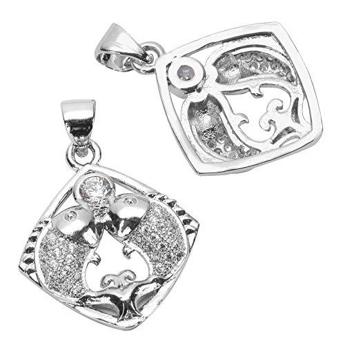 2pcs Top Quality Silver Pisces Zodiac Pendant Fishes Charm Simulated Diamond Pendant MCAC01