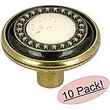"Amerock BP862-BB Burnished Brass with Ceramic Center Round Cabinet Hardware Knob - 1-1/4"" Diameter - 10 Pack"