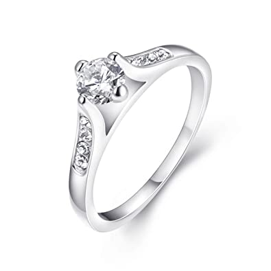 Buy Eternity Love Women S 18k White Gold Plated Solitaire Cz