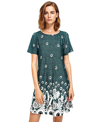Boho-Chic Vacation & Fall Looks - Standard & Plus Size Styless - OEUVRE Women's Short Sleeve Bohemian Floral Print Loose Summer Beach Shift Dress XL
