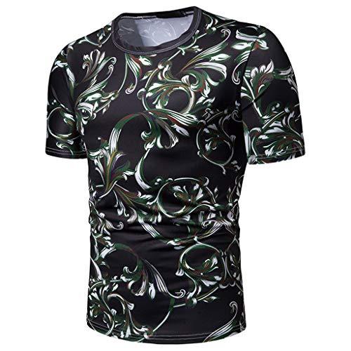 (Men's Chic Paisley Print Summer T-Shirt Slim O-Neck Short Sleeve Sports Running Casual Holiday Tops Green)