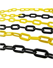 Warning Chain Yellow and Black, Barrier Chain Link with 2 Plastic Hooks Link Repair, Plastic Chain Link Fencing and Posts(Color:10mm,Size:25m)