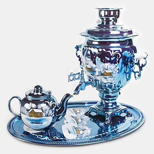 Snowy Night Electric Samovar Set with Tray & Teapot Russian Samovar