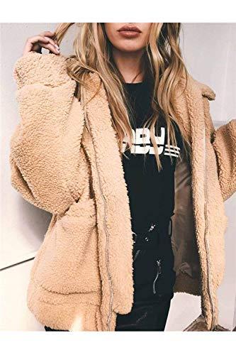 Fashion Invierno Chaquetas Espesar Manga Elegantes Exteriores Prendas Larga Solapa Chaqueta Outerwear Termica Huixin Modernas Anchos Khaki Mujer Abrigos Con Cremallera Casual De EqxapX