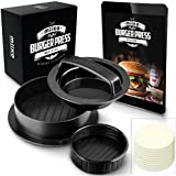 MiiKO Stuffed Burger Press with 20 FREE Burger Patty Papers and Recipe E-Book - 3 in 1 Burger Press/Slider Press/Hamburger Maker - By
