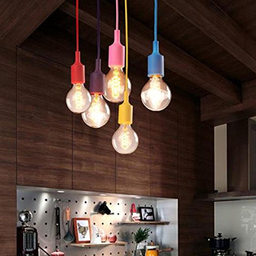 E27 Silicone Light Bulb Holder Home Ceiling Pendant Lamp Hanging Fixture (White) by SUNSIOM (Image #1)