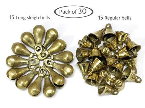AzKrafts Pack of 30 Brass Bells, 15 Long Sleigh Bells + 15 Regular Bells, Unique Combo - Small Indian Brass Bells & Long Sleigh Bells for Home Door Decor, Crafts, Chimes, Christmas Decor, Pet Bells