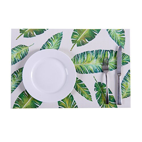 Colour Print Placemats,Placemats,Placemats for Dining Table,Heat-resistant Placemats, Stain Resistant Washable PVC Table Mats,Kitchen Table mats,Sets of 4 (Banana Leaf)