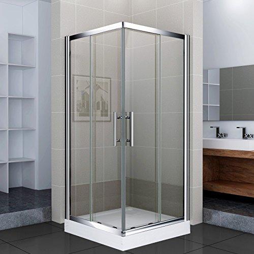 Luxus4Home Duschkabine mit Duschtasse 80 x 80 x 195 cm Eck Dusche Schiebetür Sicherheitsglas (ESG)