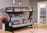ACME Furniture 37136 Zazie Twin over Full/Futon Bunk Bed with Bookshelf, Sandy Black