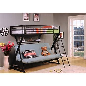acme furniture 37136 zazie twin over full futon bunk bed with bookshelf sandy black metal bunk bed with futon   furniture shop  rh   ekonomikmobilyacarsisi
