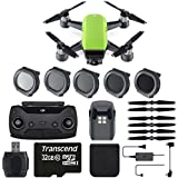 DJI Spark 12MP Still Photos/1080p30 Video + 32GB Class 10 Memory Card + 5PC Filter Set (ND4, ND8, ND16 & UV) & Total Of 2 Batteries - Starter Bundle (Standard, Meadow Green)