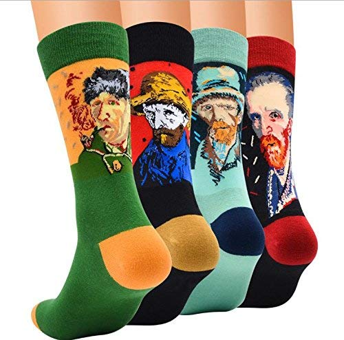 Chalier 4 Pairs / 5 Pairs Womens Famous Painting Art Printed Funny Novelty Casual Cotton Crew Socks (Multicolor 01)