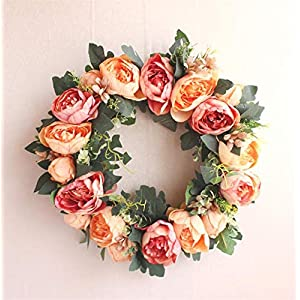 QIANDONG1 40Cm Spring Shabby Chic Wreath Simulation Peony Door Wreath Home Decor Monogrammed Grapevine for Housewarming Gift 59