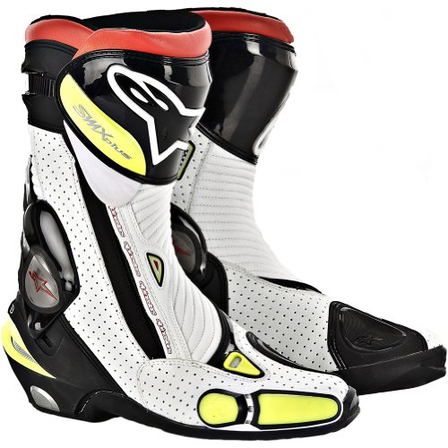 Alpinestars S-MX Plus Vented Men's Leather Street Motorcycle Boots - Black/White/Flourescent Yellow / Size 36