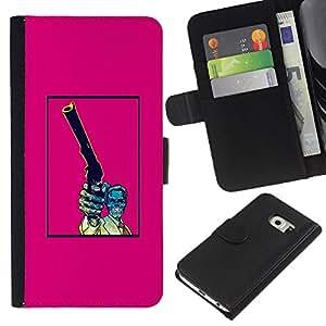 Be-Star la tarjeta de Crédito Slots PU Funda de cuero Monedero caso cubierta de piel Para Samsung Galaxy S6 EDGE ( Pink Gun Pistol Poster Vintage Skull )