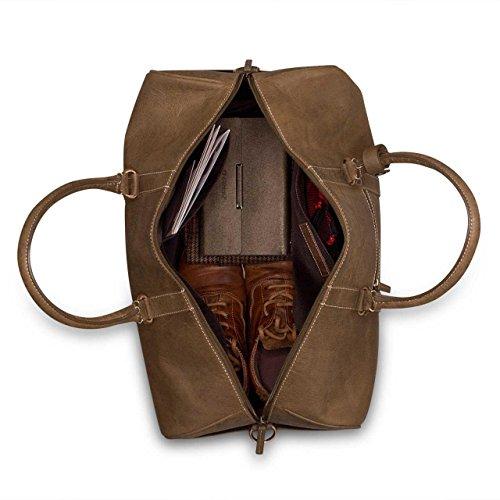 STILORD Großer Vintage Weekender Ledertasche Reisetasche Handgepäck in Kabinengröße aus Büffel Leder braun