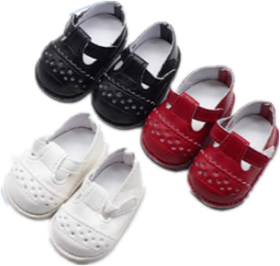 Fully 3 Pares de Zapatos de Cuero de PU Zapatillas de Ballet para muñecas de 16 Pulgadas