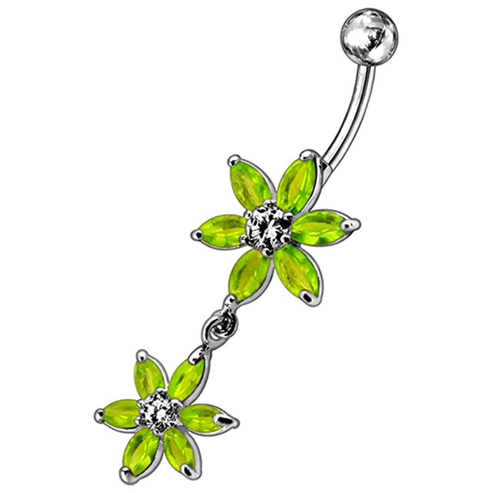 CZ Crystal Gemstone Stylish Two 6 Petals Flower Dangling 925 Sterling Silver Belly Ring Body Jewelry