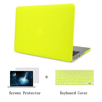 Batianda Plástico Funda Dura Carcasa para MacBook Pro 15 Retina & Cubierta del Teclado & Protector de Pantalla,Amarillo Neon