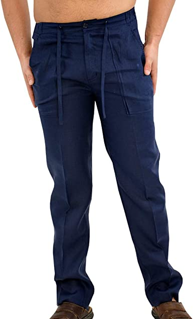 JIXUAN Pantalones de Hombre Pantalones de Corbata con cordón ...