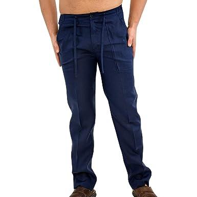 Herren Einfarbig Kurze Lange Hosen, Mode Lose Fit Hose mit Tasten Bequeme  Reißverschluss Freizeit c9b3b989e1