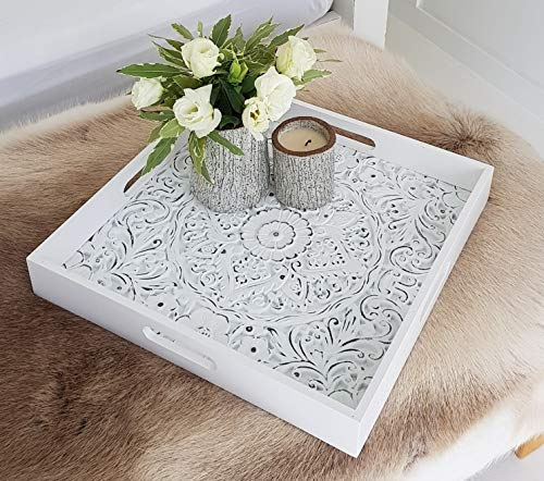 Decorative Serving Tray for Ottomans Large Square with Handles - White Carved Wooden Serving Trays for Coffee Tables, Breakfast in Bed, Display Tray, Parties | Home Decor | 15.75 x 15.75 Inches