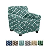Great Bay Home Modern Velvet Plush Arm Chair Slipcover. Strapless One Piece Stretch Chair Cover. Arm Chair Cover for Living Room. Magnolia Collection Slipcover. (Chair, Aqua)