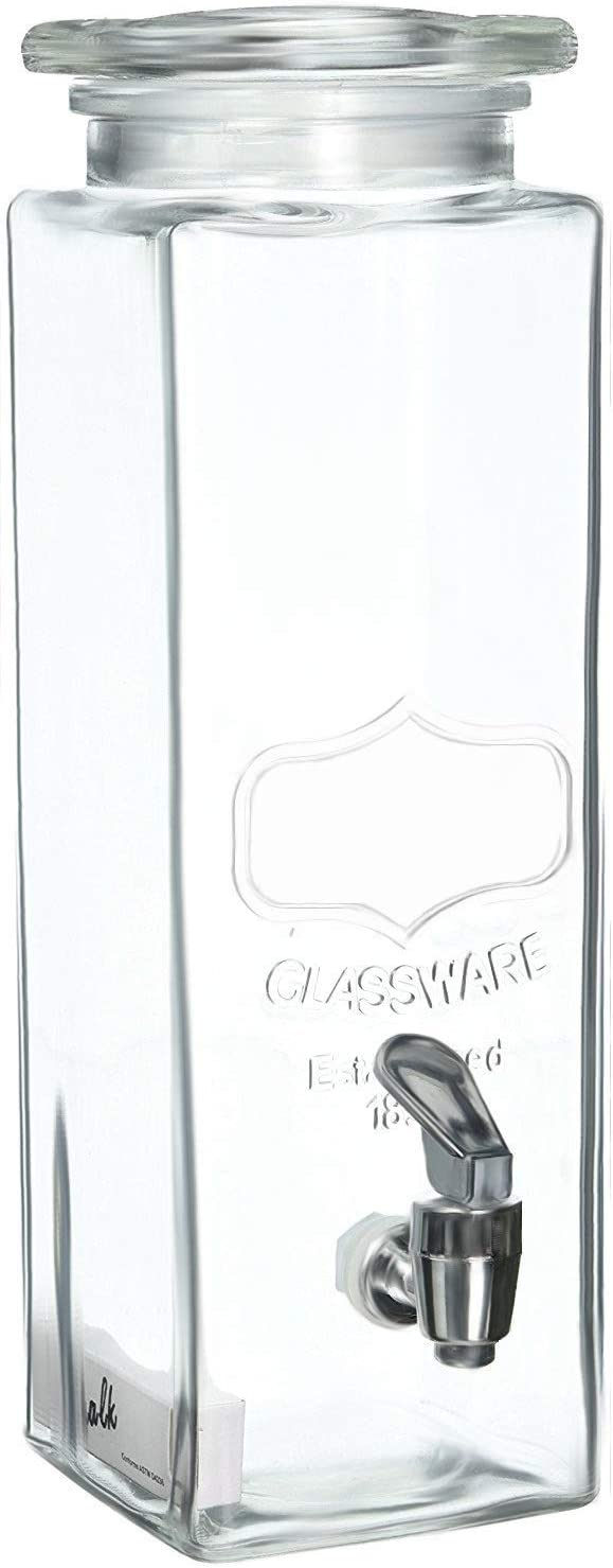 Circleware Yorkshire Mason Jar Tall Square Glass Beverage Dispenser With Lid And Spigot 2 5 Quart Clear Iced Beverage Dispensers
