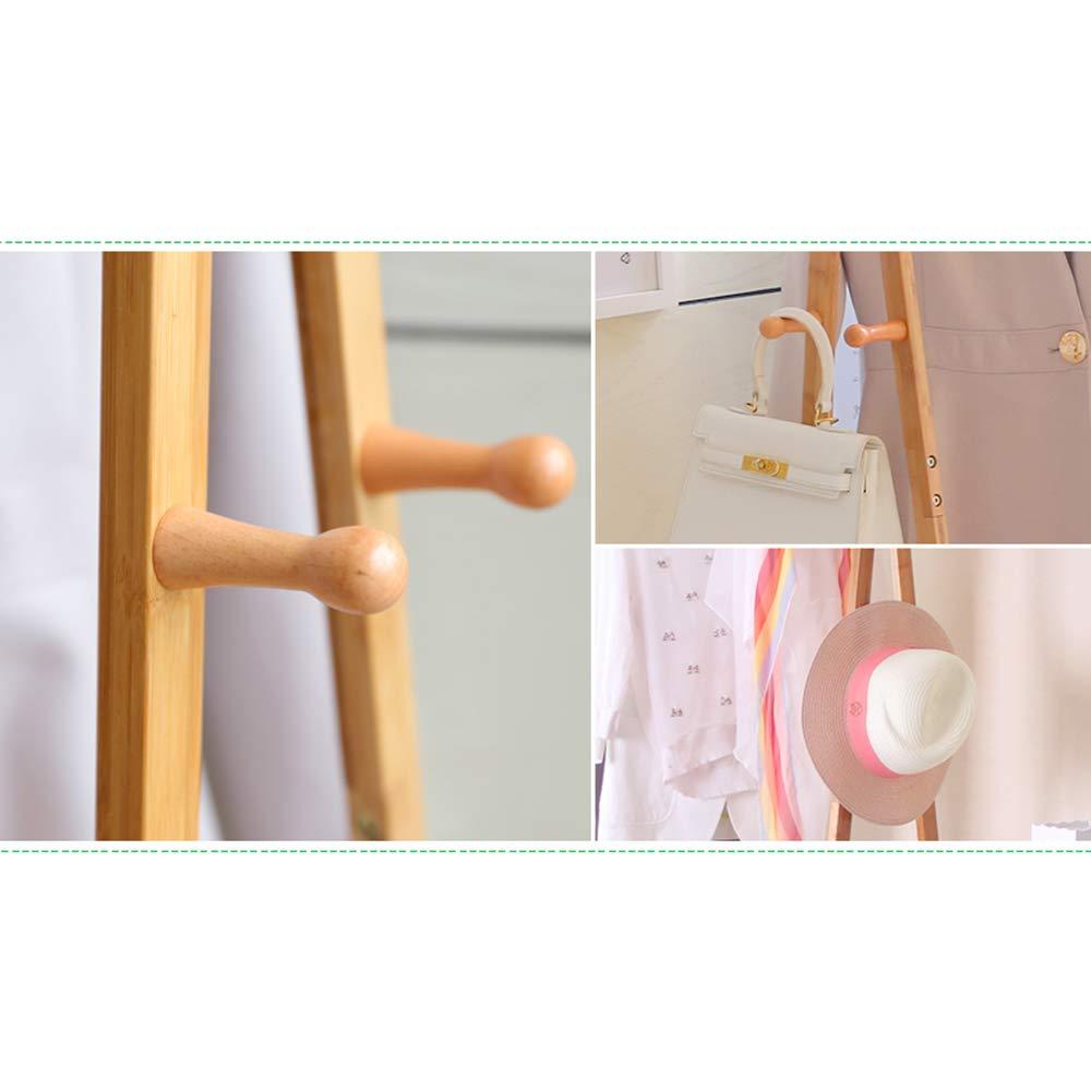 XJRHB Percha Multifuncional Ropa de bambú Natural Rack ...