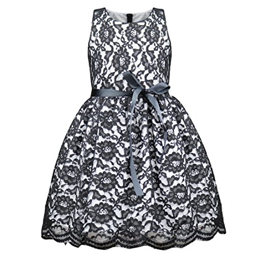 iEFiEL Girls Boutique Princess Lace Flower Dress Pageant Party Black 9-10