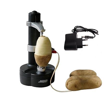 Pelador Automático Eléctrico de Frutas y Hortalizas con Adaptador (Negro)