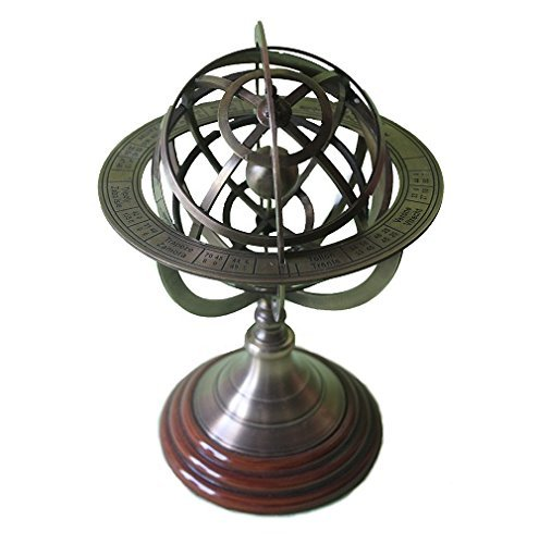 Brass Armillary Sphere Globe Clock Spherical Astrolabe Vintage compass by Collectibles Buy