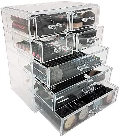OnDisplay Zoe 7 Drawer Cosmetic Jewelry Organizer, Clear, NULL