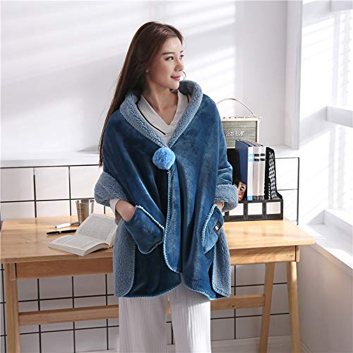 Desilife Home Flannel Wearable Throw Blanket Button Wrap Shawl (26 x 68 inch) Teal - All Season Sofa Car Chair Travel Care for Women Girl - Household Office Nap Velvet Clothes Midnight Blue
