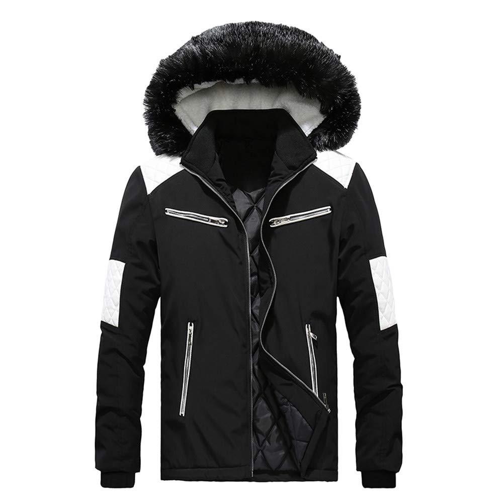 Men Coat,Men Boys Casual Warm Stand Collar Slim Winter Zip Coat Outwear Jacket Top Blouse(L,Black)