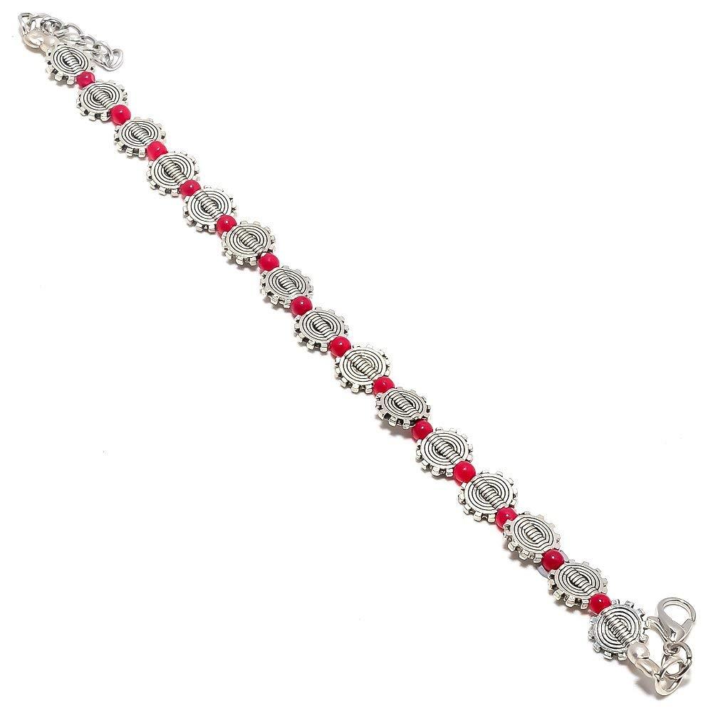 Tough Look Handmade Jewellry Pink Plan Beads Silver Plated 10 Grams Beacelet 7-9 Long