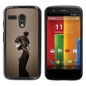 Caucho caso de Shell duro de la cubierta de accesorios de protección BY RAYDREAMMM - Motorola Moto G 1 1ST Gen I X1032 - Brown Deep Sad Depression Emo