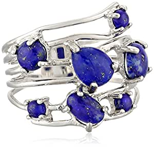 Sterling Silver Simulated Lapis Multi-Stone Ring, Size 7