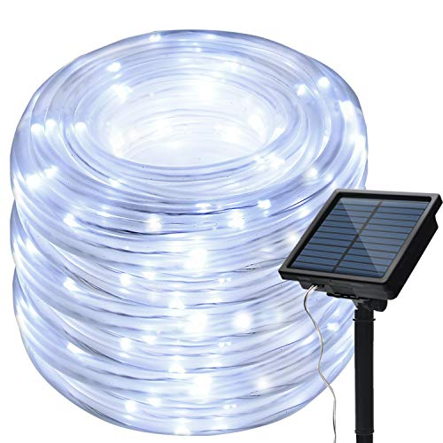 8 Modes Solar Rope Lights Outdoor String Lights 13M 42.6Foot 100LED 2400mah High Capacity Battery Starry Fairy Lights for Indoor Outdoor Garden Patio Party Decorations White