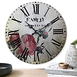 Home Sweet Home - 12 inch Simplicity Wooden Wall Clock, Silent Non Ticking Quality Quartz Battery Operated Numeral Design Rustic Country Tuscan Style Decorative Round Clock (Flower-Red)