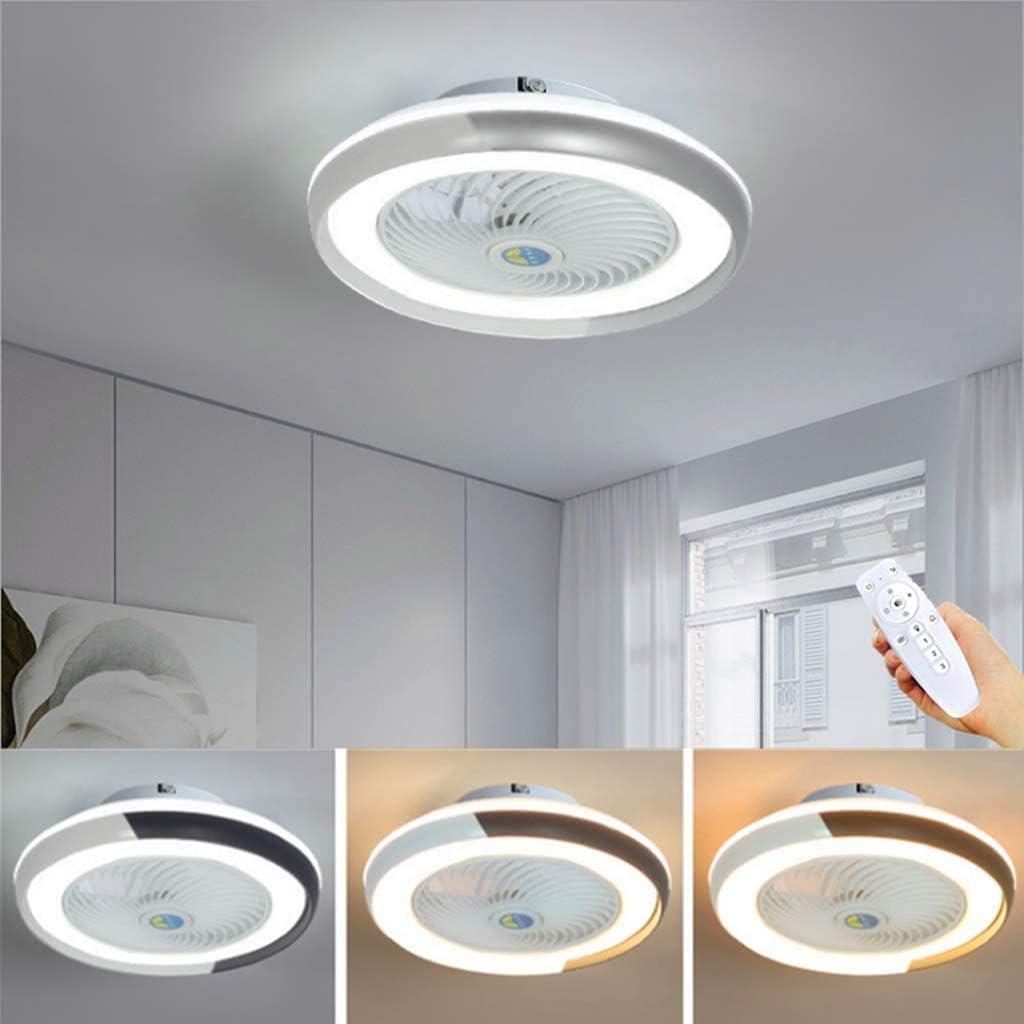 WJJH Ventilador de Techo LED Lámpara Minimalista Moderna de la lámpara de Techo Ventilador Regulable Fan Redonda Ultra silencioso Dormitorio Ahorro de energía y Sala de Estar Luces,Gris