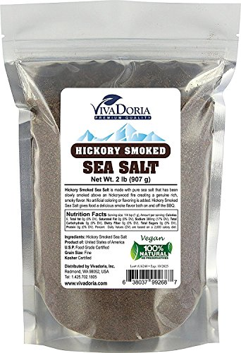 Hickory Smoked Sea Salt (Fine Grain) Hickorywood Salt (2 lb) Hickory Smoked Sea Salt
