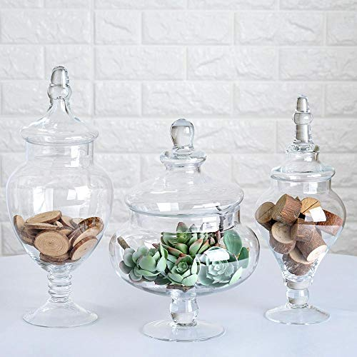 - Efavormart Set of 3 Clear Apothecary Glass Candy Jars with Lids - 12