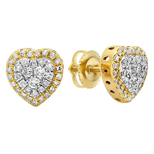 Dazzlingrock Collection 0.50 Carat (ctw) 14K Round White Diamond Ladies Heart Shaped Stud Earrings 1/2 CT, Yellow Gold