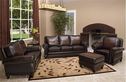 Fantastic Amazon Com Abbyson Venezia 4 Piece Brown Leather Sofa Set Squirreltailoven Fun Painted Chair Ideas Images Squirreltailovenorg