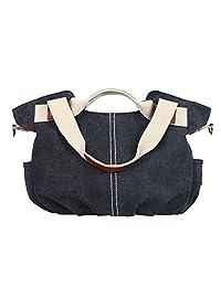Eshow Women's Canvas bag Top Handle Totes Shoulder Bag Shopping Travel School Cross body Bag for Women Tote handbag Messenger Bag daypack purse,Black